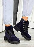 Женские зимние ботинки синяя натуральная замша, фото 2