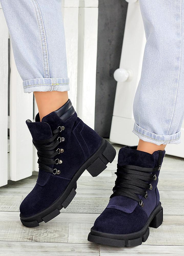 Женские зимние ботинки синяя натуральная замша