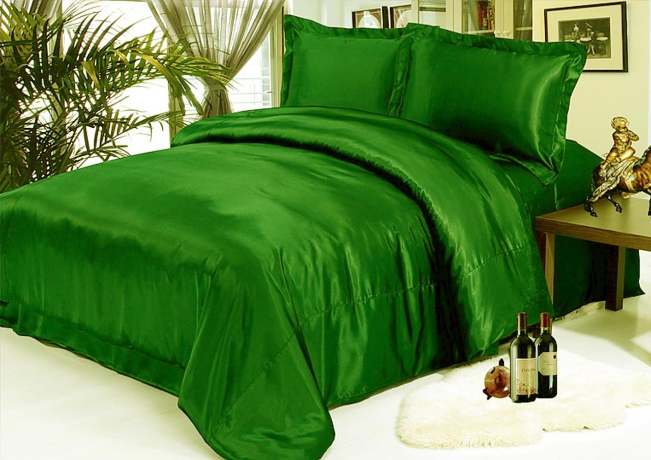 """Зеленое постельное белье из атласа в размерах """"Изумруд"""" Двойной размер, наволочки 70х70см или 50х70 см"""