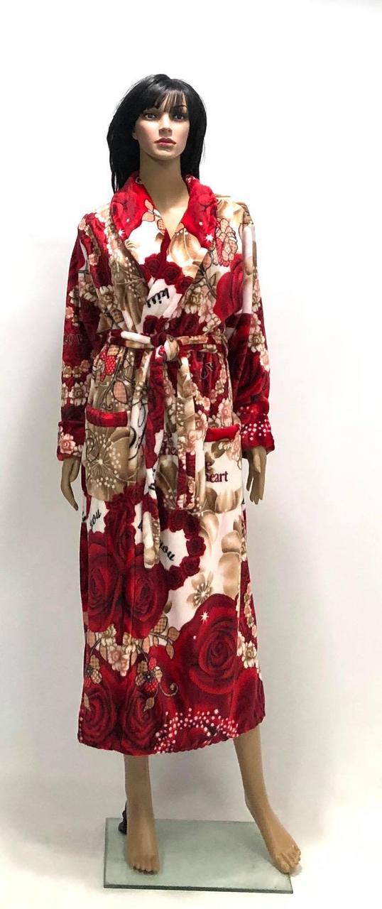Женский махровый халат длинный с цветами