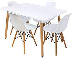 Столик Bonro В-950-1200 + 4 белых кресла В-173 41300035