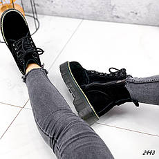 Ботинки женские черные, зимние из НАТУРАЛЬНОЙ ЗАМШИ. Черевики жіночі теплі чорні на платформі, фото 2