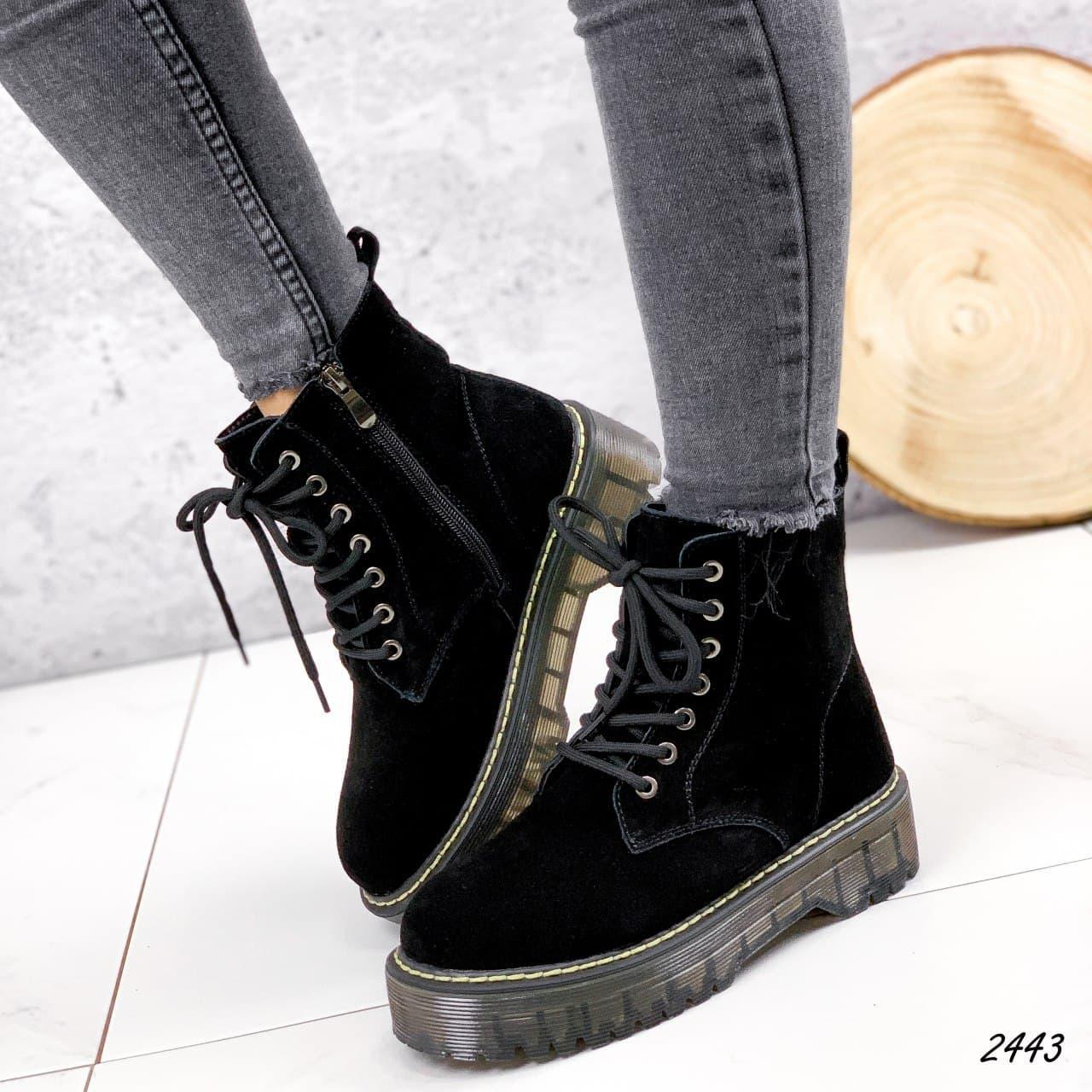 Ботинки женские черные, зимние из НАТУРАЛЬНОЙ ЗАМШИ. Черевики жіночі теплі чорні на платформі
