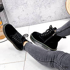 Ботинки женские черные, зимние из НАТУРАЛЬНОЙ ЗАМШИ. Черевики жіночі теплі чорні на платформі, фото 3