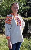"""Жіноча блуза вишиванка """"Слава 9"""" рукав три четверті з конопляної тканини розмір XS-L"""