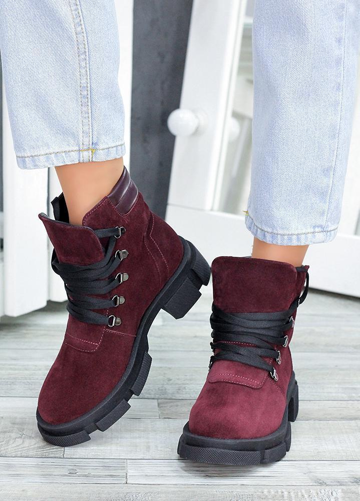 Женские зимние ботинки бордовые натуральная замша