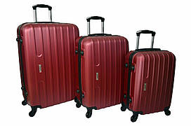Набір дорожніх валіз на колесах Siker Line набір 3 штуки Бордовий