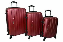 Набор дорожных чемоданов на колесах Siker Line набор 3 штуки Бордовый
