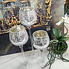 Набор подсвечников стеклянных из 3х шт с эффектом битого стекла (Серебро)