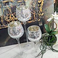 Набор подсвечников стеклянных из 3х шт с эффектом битого стекла (Серебро), фото 1