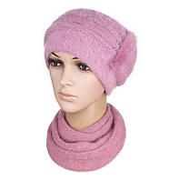 Комплект шапка и шарф вязаный женский Anna ангора ягодного цвета, фото 1