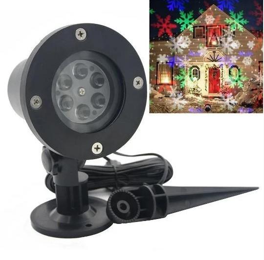 Новогодний лазерный проектор снежинки RGB уличный Черный 602