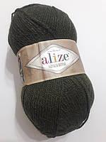 Пряжа альпака рояль Алізе Alpaca royal Alize, Ализе Альпака роял 100 гр. 250 м  Хакі темна 567