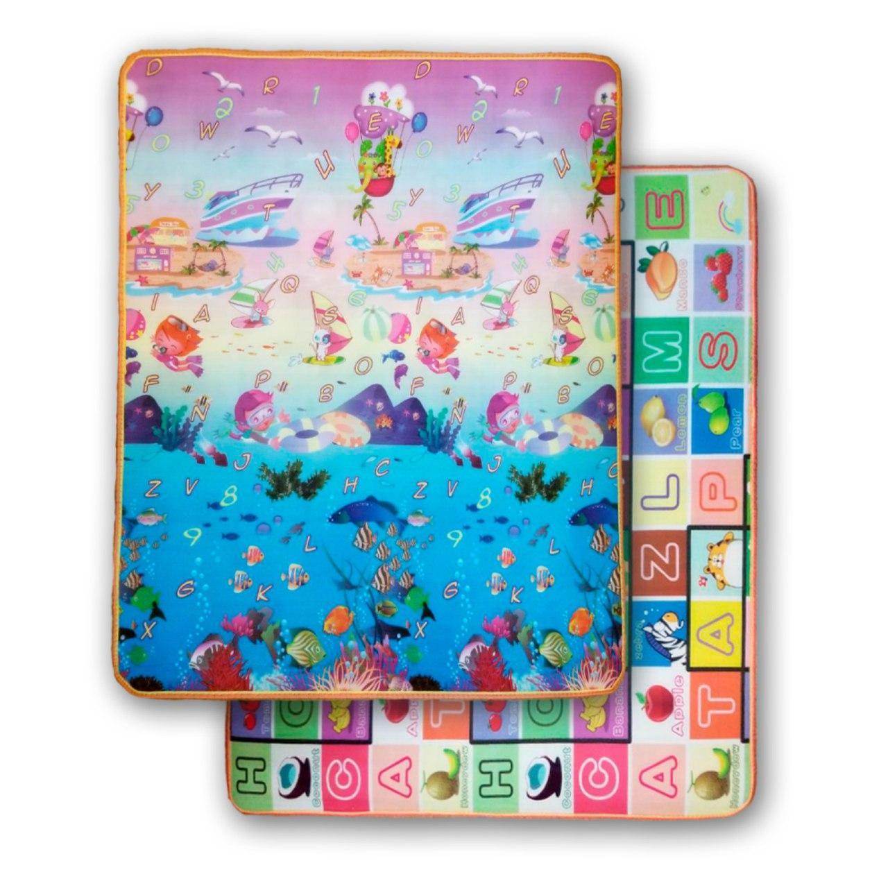 Развивающий двухстронний  детский игровой термо коврик для ползания 2000*1800*10