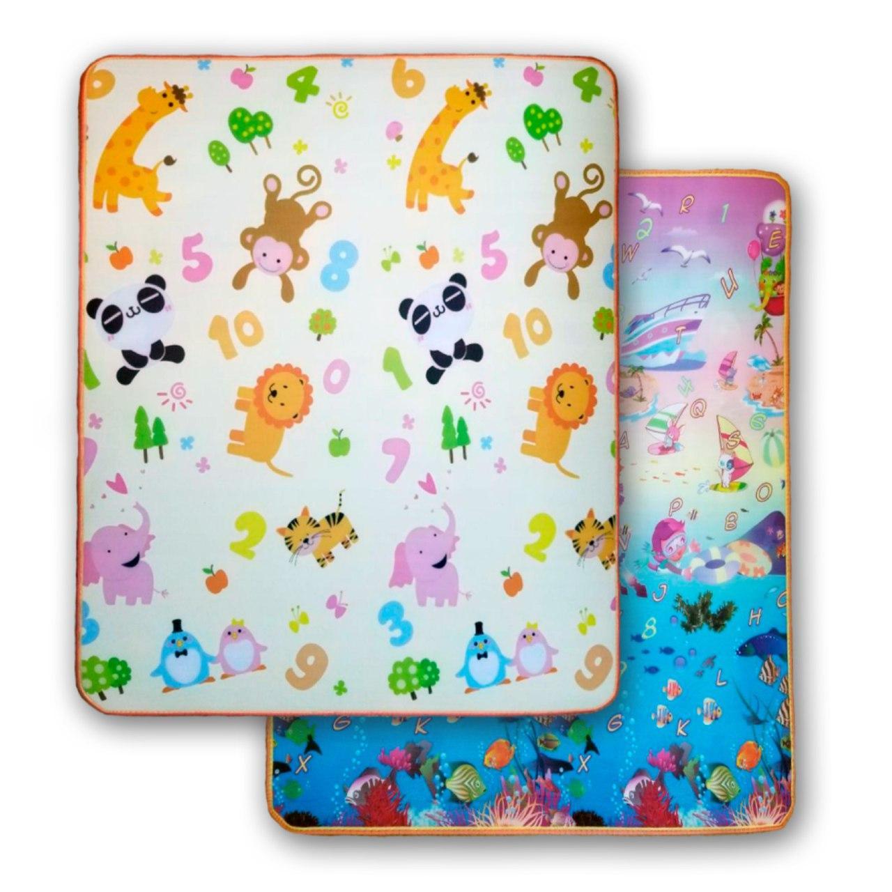 Розвиваючий двухстронній дитячий ігровий термо килимок для повзання 2000 * 1800 * 10
