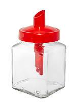 Сахарница стеклянная 270 мл квадратная с красной пластиковой крышкой дозатором. Everglass