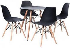 Столик Bonro В-957-600 + 4 черных кресла B-173 41300041