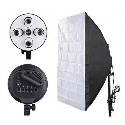Софтбокс (softbox) 60x90 см на 5 ламп e27. постійний студійне світло зі стійкою і дифузором розсіювачем, фото 2