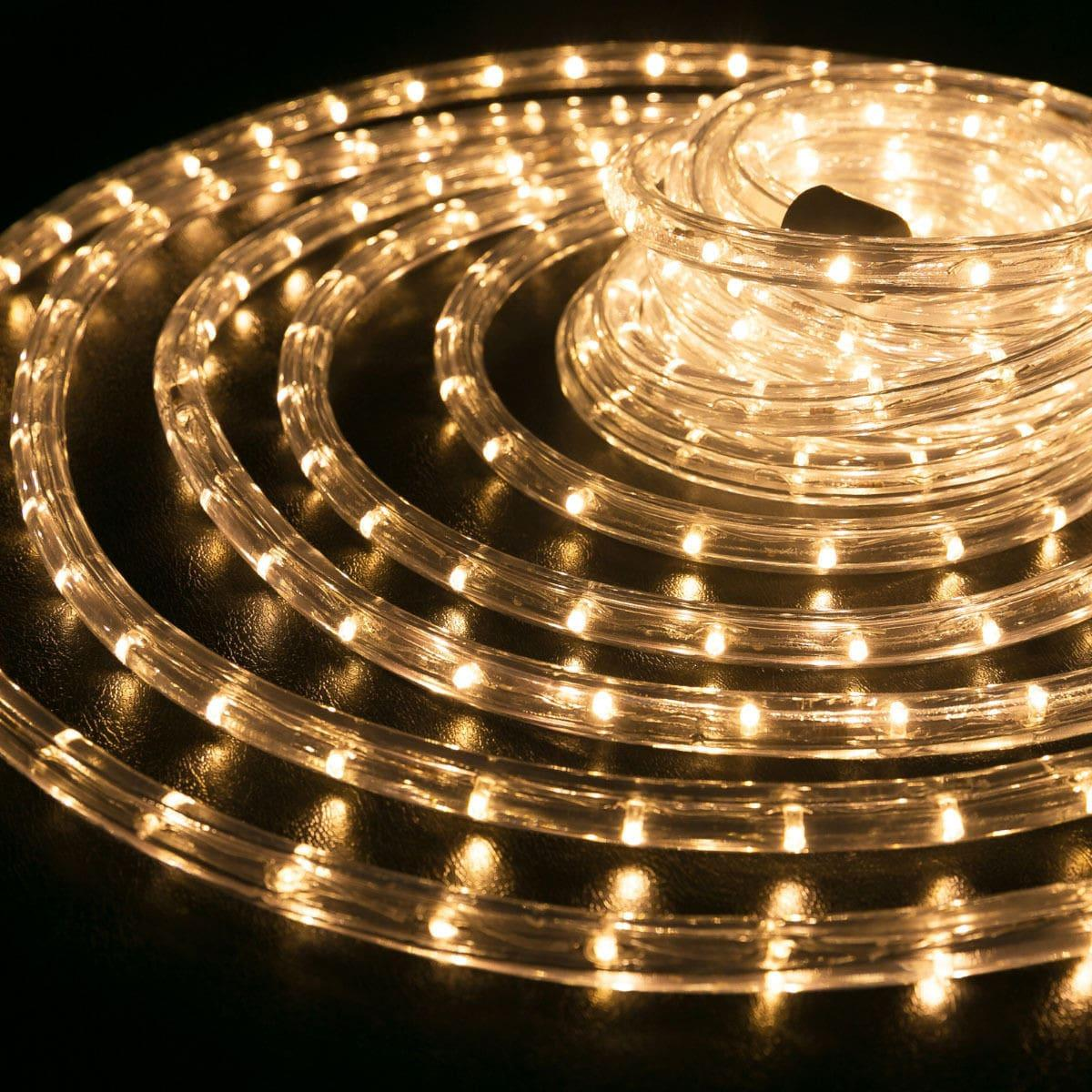 """Наружная Герметичная LED гирлянда Дюралайт """"Duralight"""" 100 метров Теплый белый, 1800 Ламп прозрачный силикон"""