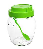 Банка стеклянная для хранения 1062 мл зеленая пластиковая крышка с ручкой и пластиковая ложка Everglass