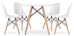 Столик Bonro В-957-800 + 4 белых кресла B-173 41300044