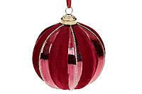 Игрушки на елку Елочный шар с бархатным и глянцевым покрытием, 8см, цвет - бордо BonaDi елочные игрушки