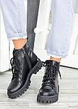 Женские зимние ботинки на шнуровке черная кожа, фото 2