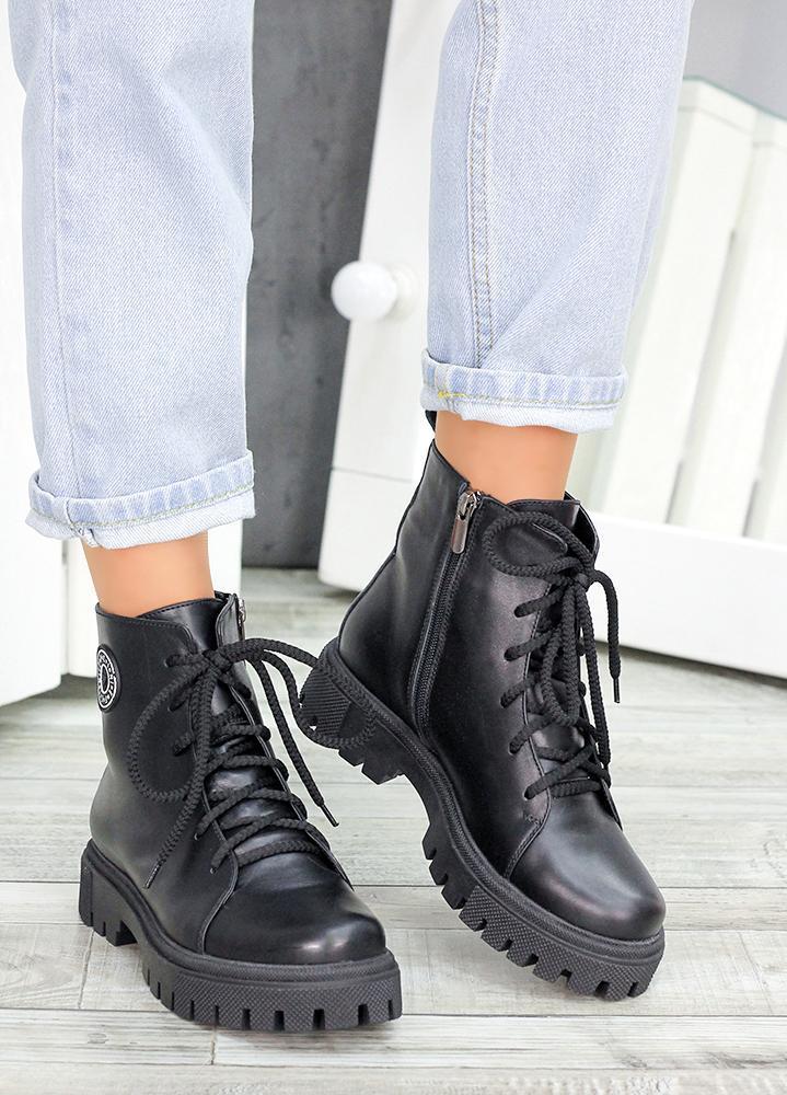 Женские зимние ботинки на шнуровке черная кожа