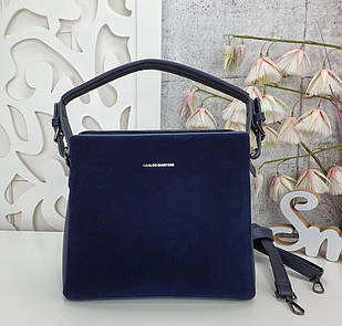 Жіноча синя сумка, екошкіра/натуральна замша