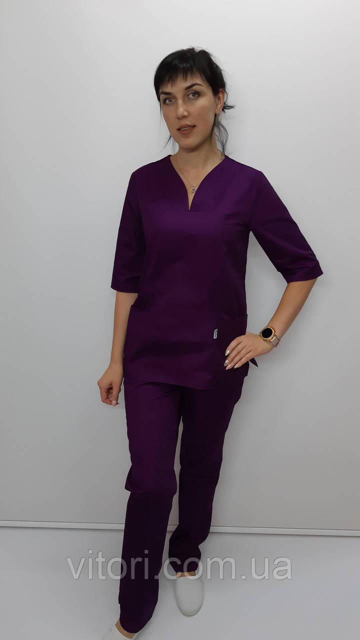 Жіночий хірургічний костюм Кенді коттон три чверті рукав