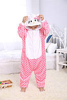 Кигуруми для детей Китти горошек, кигуруми пижама детская Китти горошек