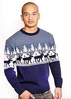 """Теплый классический мужской свитер с узором """"Лоси"""""""