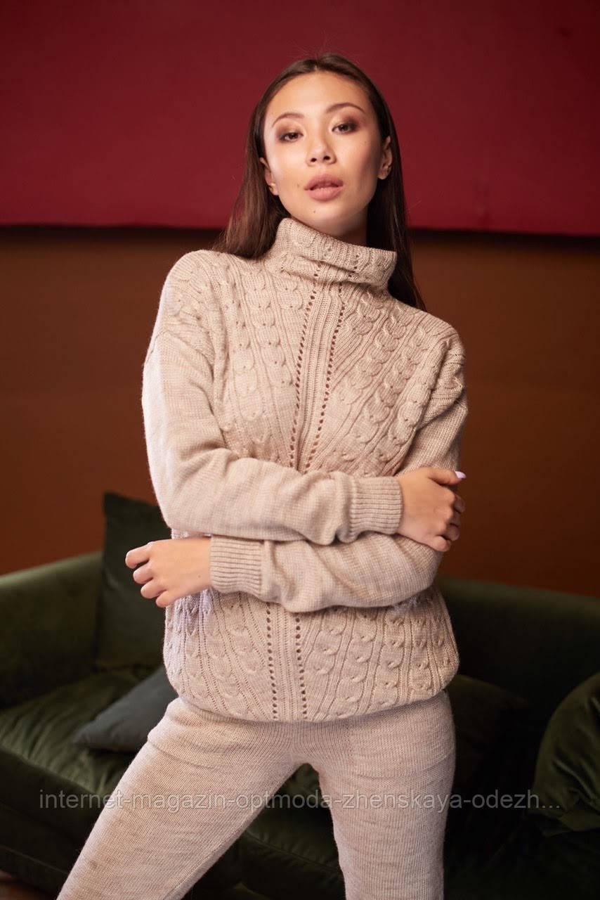 Уютный модный женский теплый костюм под горло. Красивый женский вязанный комплект