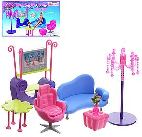 Детский игровой набор мебели Gloria для гостинной | Набор диван, кресло, стул, пуфик, телевизор