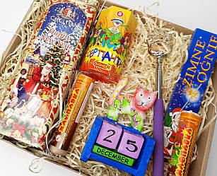 """Подарок на новый год """"Новогодний вечер"""": хлопушка, серпантин, бенгальские огни, чесалка, вечный календарь, чай"""