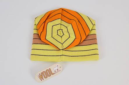 Тепла світло-жовта якісна практична чоловіча в'язана шапка, фото 2