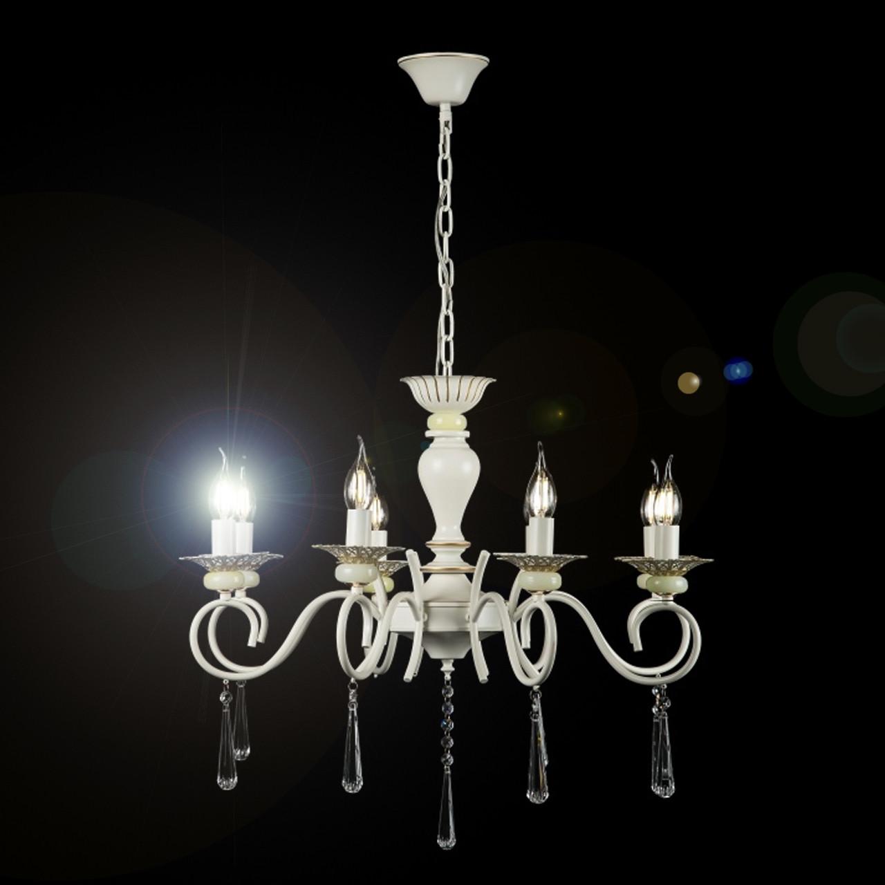 Люстра-свеча на 8 ламп белая патина с золотом VL-30662/8 (GWT)