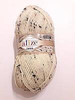 Пряжа альпака рояль  Алізе Alpaca royal Alize, Пряжа Ализе альпака, 100 гр. 250 м. молочна з коричневим 01