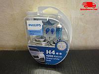 Лампа накаливания H4 12V 60/55W WhiteVision ULTRA +60 (4200K) (комплект) (Philips) 12342WVUSM