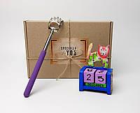 """Подарок """"Почеши котика и спинку"""": чесалка-лапа для спины с выдвижной ручкой, вечный календарь """"Кот"""""""