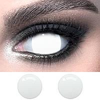 """Білі контактні лінзи для фотосесії ELITE Lens """"Більмо"""" 14,5 мм. (нульова видимість)"""