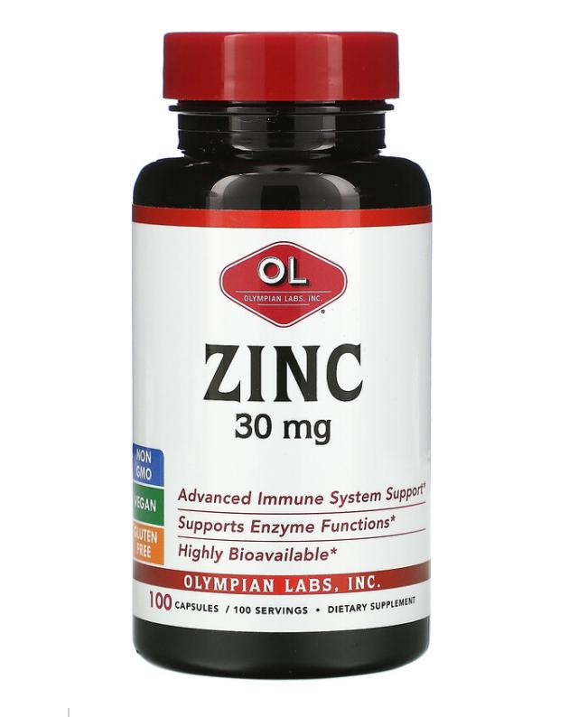 Биодоступный цинк 30 мг от Olympian Labs (производство США), глюконат цинка,100 капс.