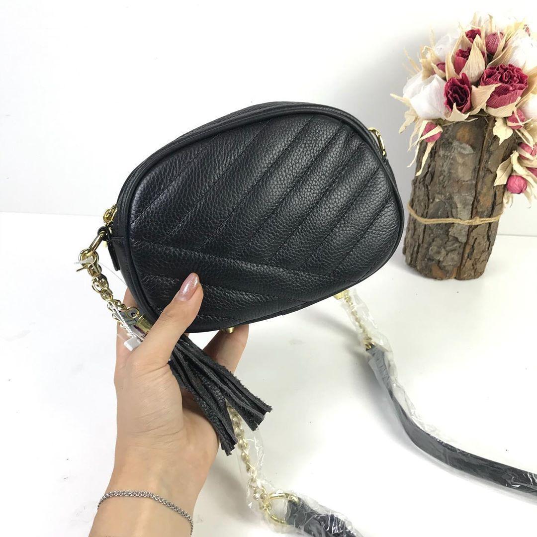Сумка мини клатч овальное яйцо / натуральная кожа (319) -с101 Черный