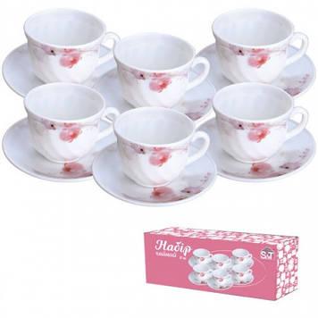 """Набір чайний склокерам. 12предм. (6чаш.+6бл.) """"Рожева орхідея"""" 61099 №30055(12)/S&T/"""