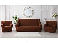 Чехол на диван и два кресла, без юбки жаккардовый, цвет шоколад, фото 1