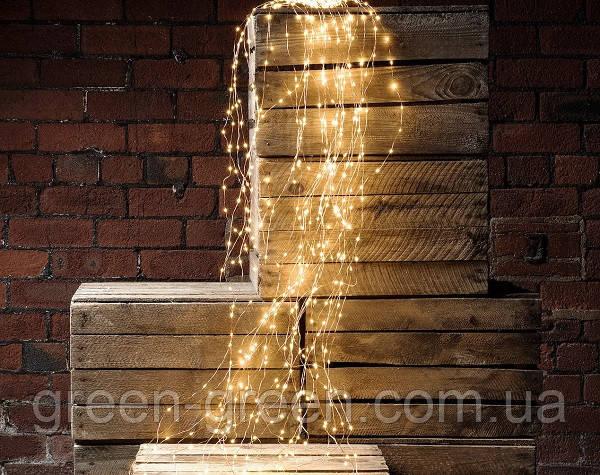 Гірлянда Кінський хвіст, LED 200 лампочок/ 20нитей по 2м/ Теплий білий/ 220V