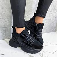 Женские кроссовки на байке чёрные, фото 1