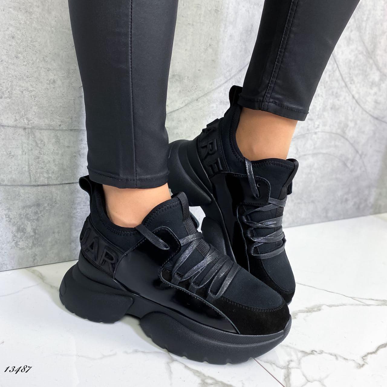 Женские кроссовки на байке чёрные