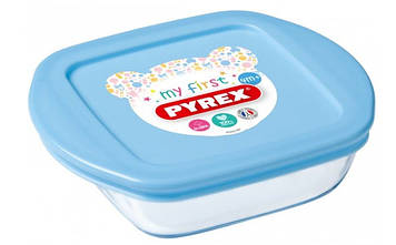 "Форма для запікання ""Pyrex Baby Blue"" 14х12х4см 0.35 л скло квадр. №75385(3)"