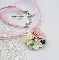 """Оригинальный подарок девушке на 14 февраля, 8 марта. Кулон из полимерной глины """"Розовый айвори""""."""